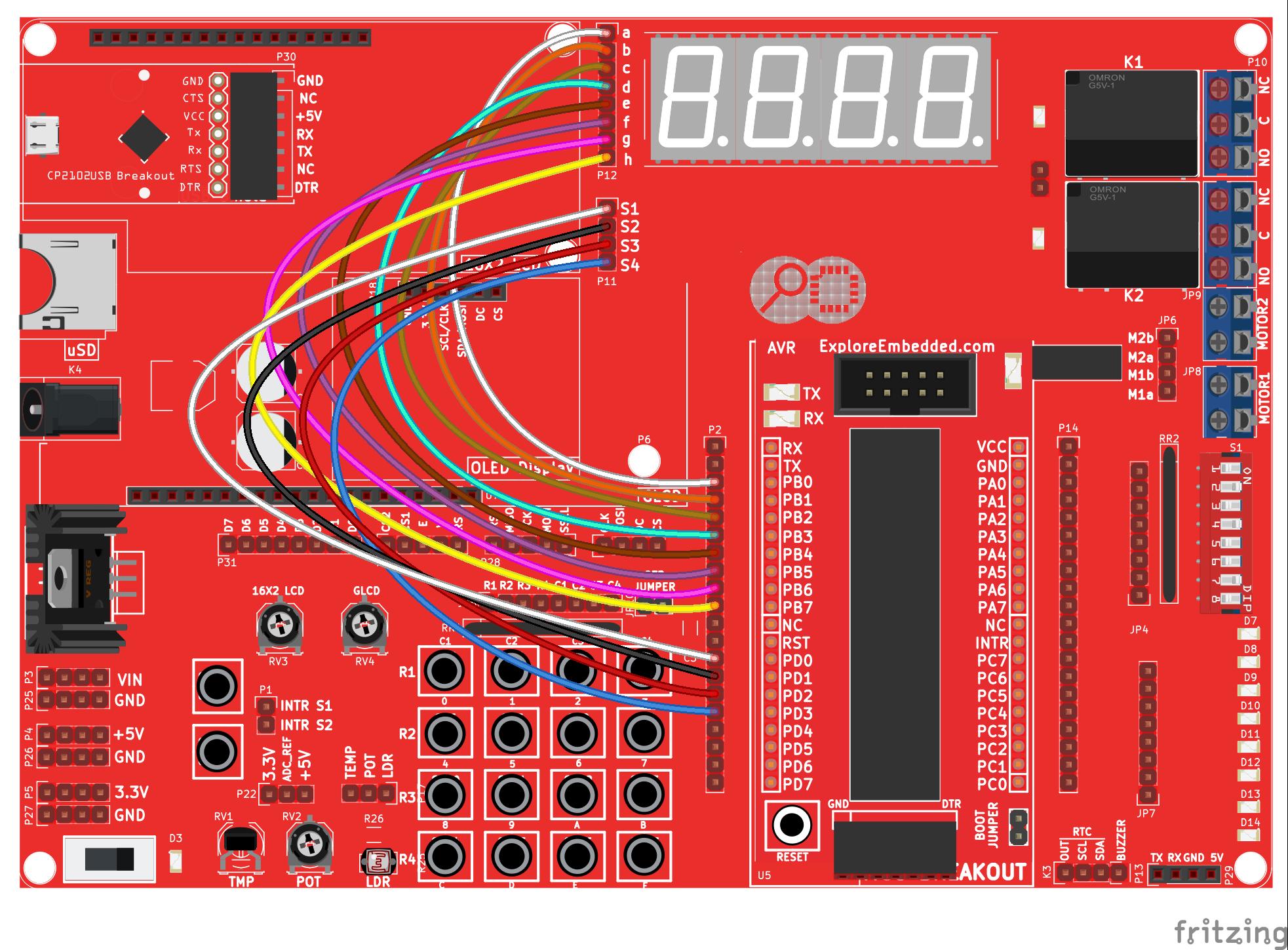 Interfacing Seven Segment Displays With Avr Tutorials Arduino 7 Display On Digital Temperature Sensor Schematic Bb